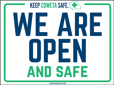 We Are Open & Safe Poster